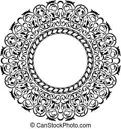 negro, marco, ornamental, frontera
