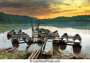 Tamblingan lake at sunrise time. Bali