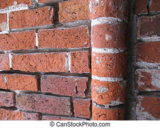 Brick Wall - Ancient weathered brick wall close up...