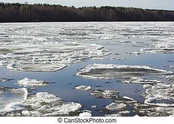 Floating of ice in spring - Floating of ice on Neva river in...