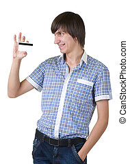 Young man happy holding credit car