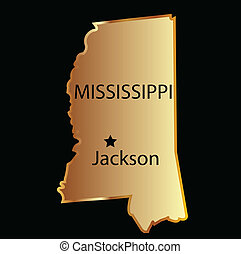 Mississipi state usa map - Mississipi state usa golden with...