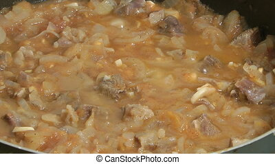 Meat ragout. - Stewed vegetables with meat slices.