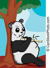 Pot Bellied Panda - Overweight panda bear leans on tree...