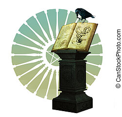 The Magic Book - a black crow is sitting on a magic book