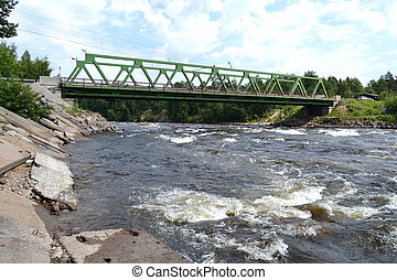 Bridge across Vuoksi river in Losevo, Priozersky District,...