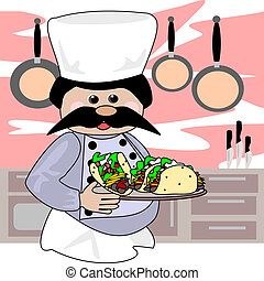 Taco chef - Cartoon illustration of a chef that has made...