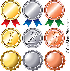 Ranking medal set - Set of the ranking medal of gold and...