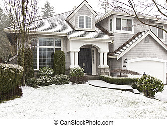 Snow Showers at Home - Front yard, home, snow showers during...