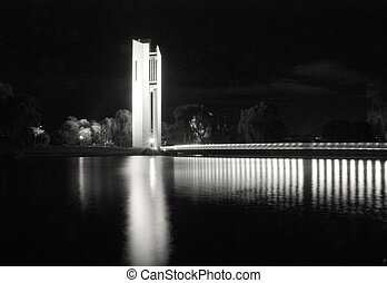 Canberra Carillon at Night - A black and white night view of...