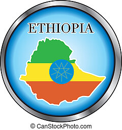 Ethiopia Round Button - Vector Illustration for the country...