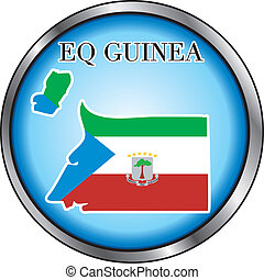 Eq Guinea Round Button - Vector Illustration for the country...