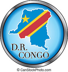 DR Congo Rep Round Button - Vector Illustration for...