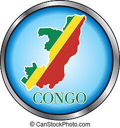 Congo Rep Round Button - Vector Illustration for Congo,...