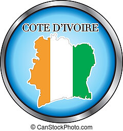 Cote D'Ivoire Rep Round Button - Vector Illustration for...