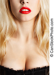 Beautiful red lips - Sexy young blonde woman with red lips...