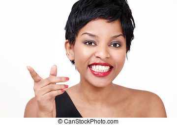 Laughing girl pointing - Cute laughing girl pointing finger,...