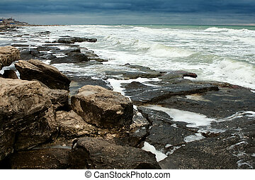 Rocky Shoreline With Pounding Surf