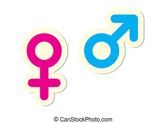 Male and Female Symbols on White Background
