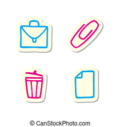 Office Icons - Vector Illustration of Office Icons on White...