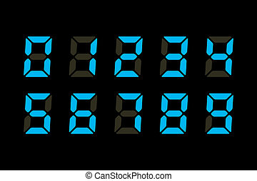 Digits Display - Vector Illustration of Blue Digits...