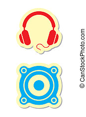 Headphones and Speaker Icons - Vector Illustration of...
