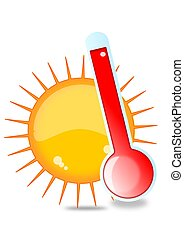 Sun and thermometer - air, arid, art, august, climate,...