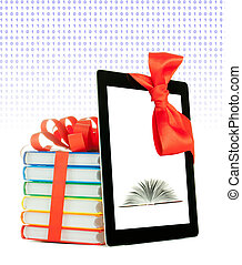 Books tied up with ribbon and tablet PC against white...
