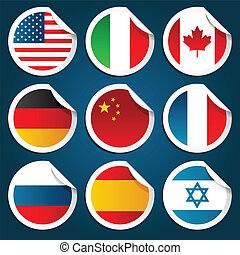World Flag Stickers - Vector set of stickers representing...