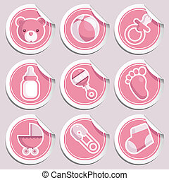 Pink Baby Shower Stickers - Vector set of pink baby shower...