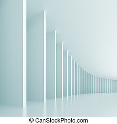 Abstract Interior Background - 3d Illustration of Blue...