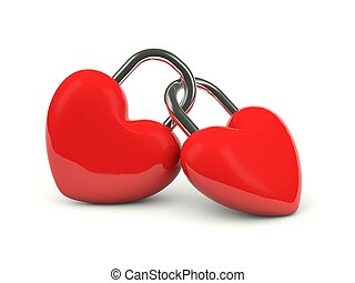 Two hearts locked together isolated on white