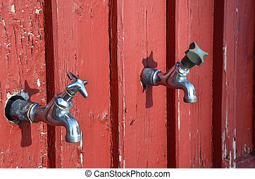 Take water here - Red wall and two taps