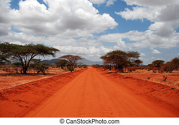 Red Road - A red Road in Tsavo-West Nationalpark / Kenia