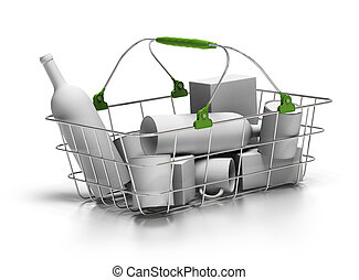 metal basket with white goods inside, 3d render, green...