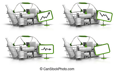 basket with goods inside, a green sign with a chart indicate...