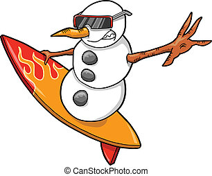 Surfer Snowman Vector Illustration art