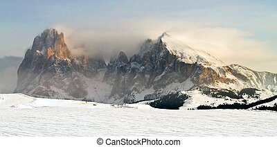 winter Mountain landscape - Winter mountain landscape, Sasso...