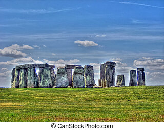 View of Stonehenge in HDR - View of the ruins of Stonehenge...