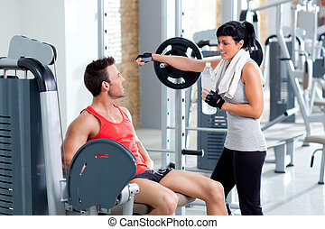 man and woman friends on sport gym relaxed - man and woman...