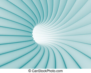 Tunnel - 3d Illustration of Blue Abstract Tunnel Background