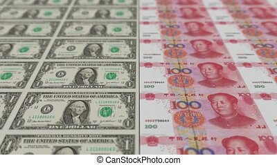 Printing Money Animation,1 dollar and 100 RMB bills,depth.