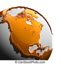 A fragment of the Earth with continents of orange glass - A...
