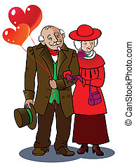 Grandparents - A loving elderly couple walks together,...