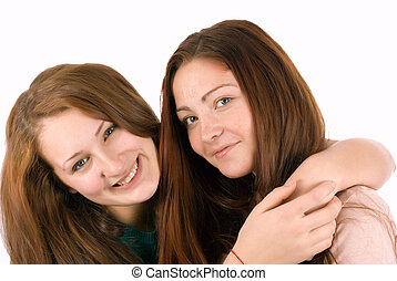 Two young and wonderful models. - Two happy girl....