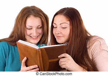 Two girls decide tasks together