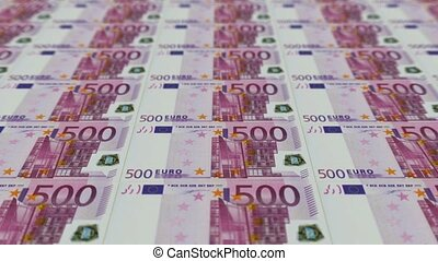 500 euro bills,Printing Money Animation.