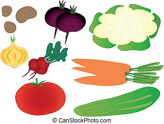 Set of colorful isolated vegetables