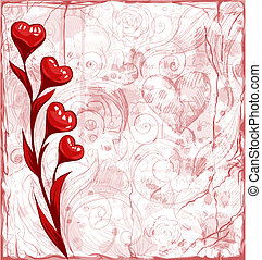 Grunge Valentine day background with heart flowers