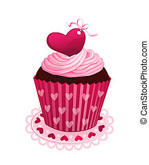 Valentine day cupcake - Chocolate cupcake with pink cream...